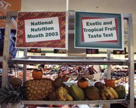 Display of fruit during National Nutrition Month 2003