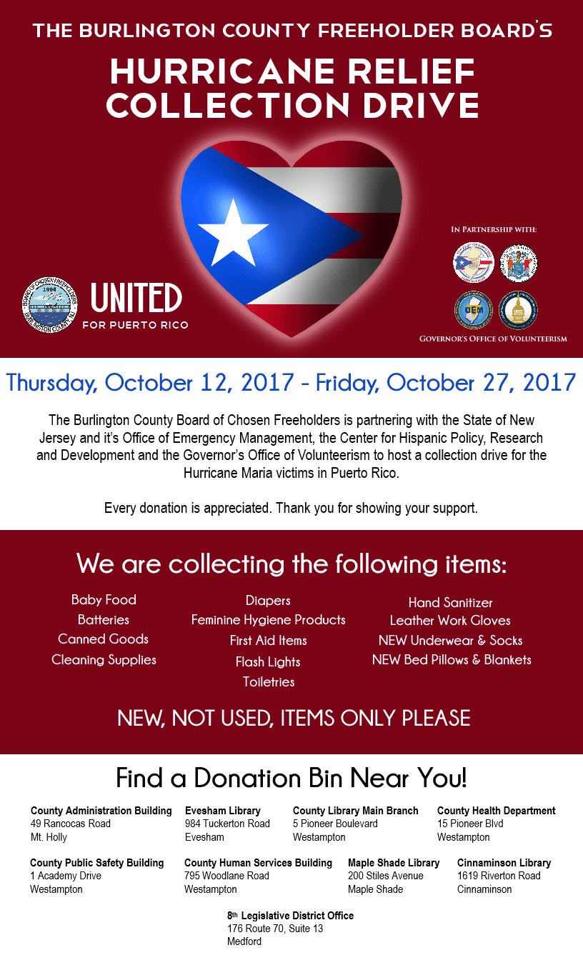 Puerto Rico Donation Flyer with Locations
