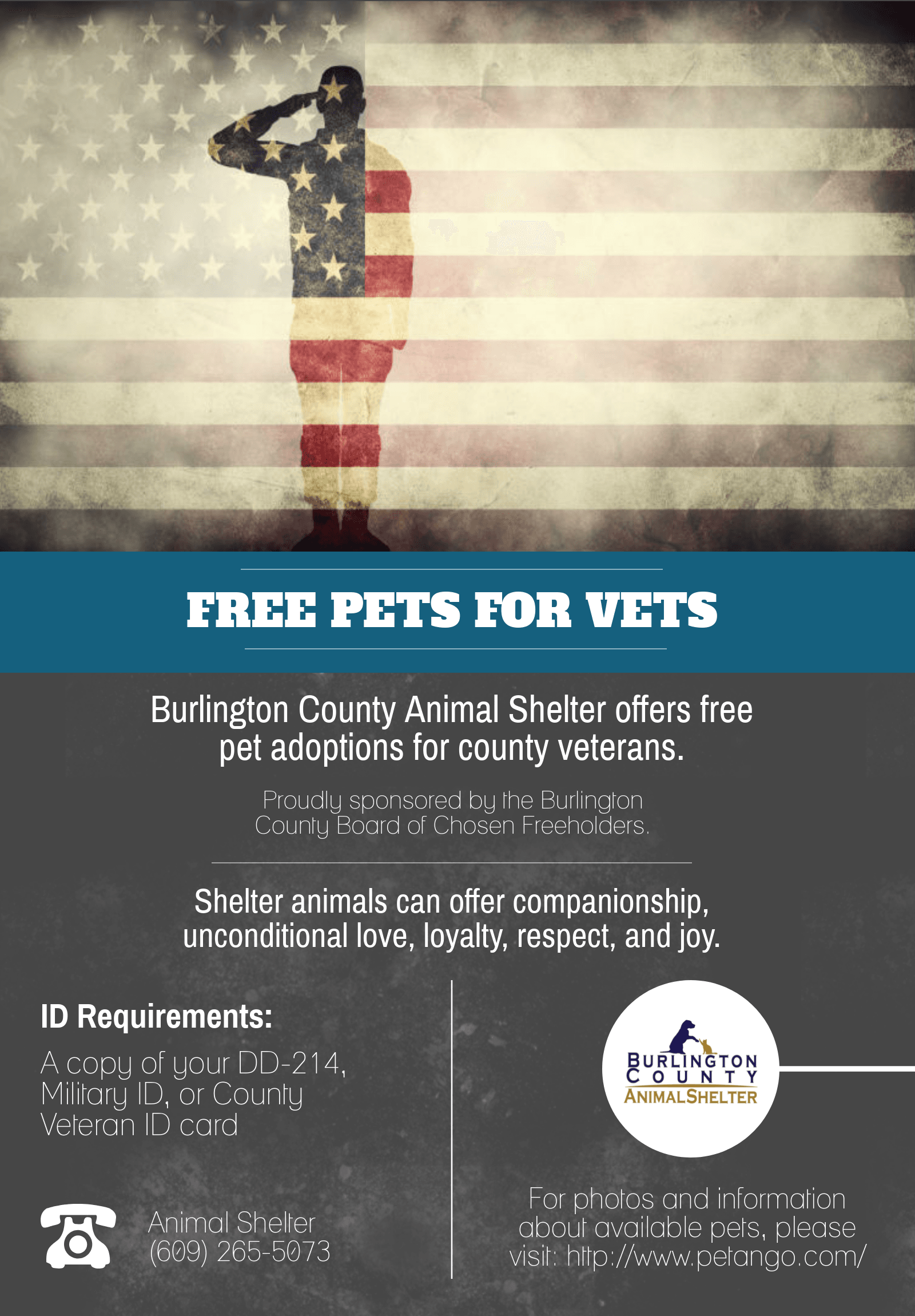 BCHD Free Pets for Vets Flyer