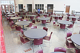 Auditorium room with round tables